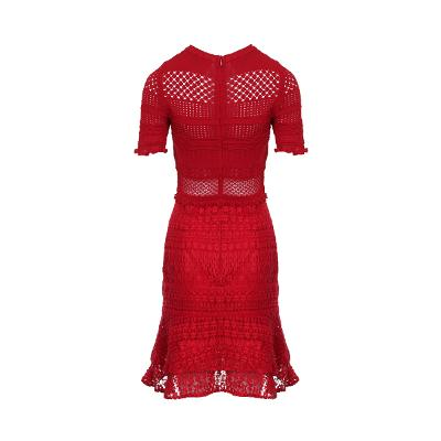 frill detail lace dress red
